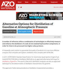 Alternative Options for Distillation of Gasoline at Atmospheric Pressure