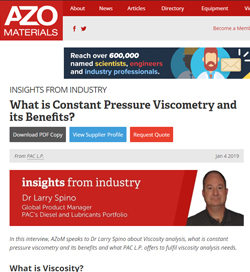 What is Constant Pressure Viscometry and its Benefits?